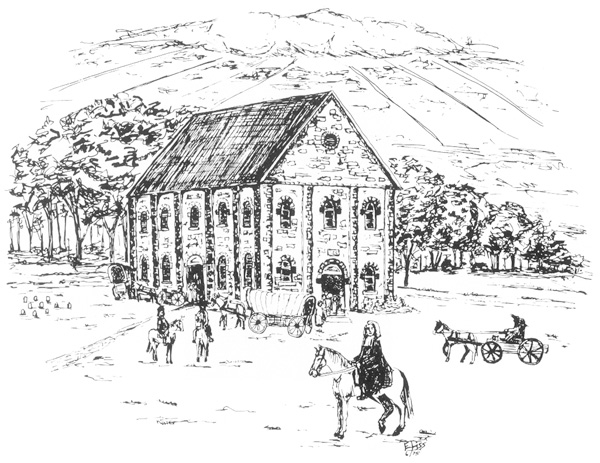 A sketch of New Hanover Lutheran Church in 1768